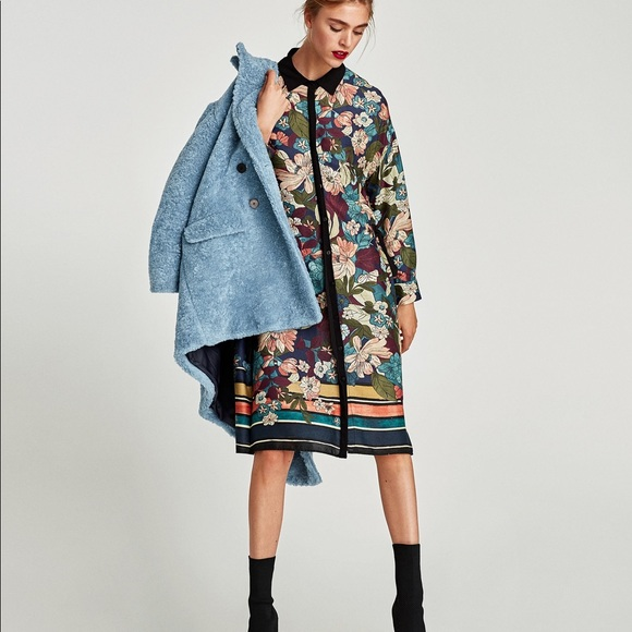 d1e461c952c Zara Dresses | Nwt Floral Tunic Shirt Dress With Side Bows | Poshmark